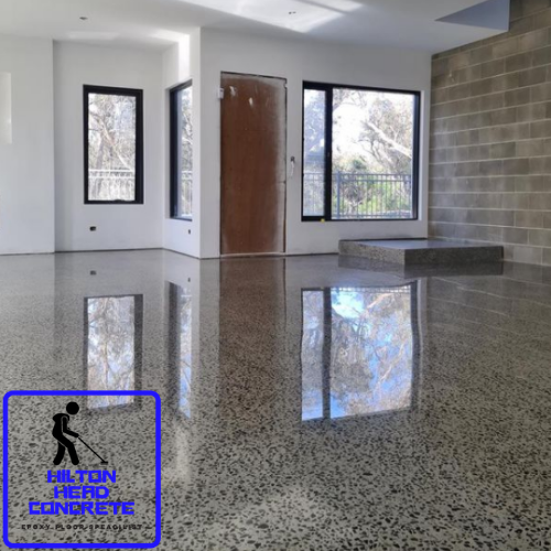 professional concrete contractors working on polished concrete
